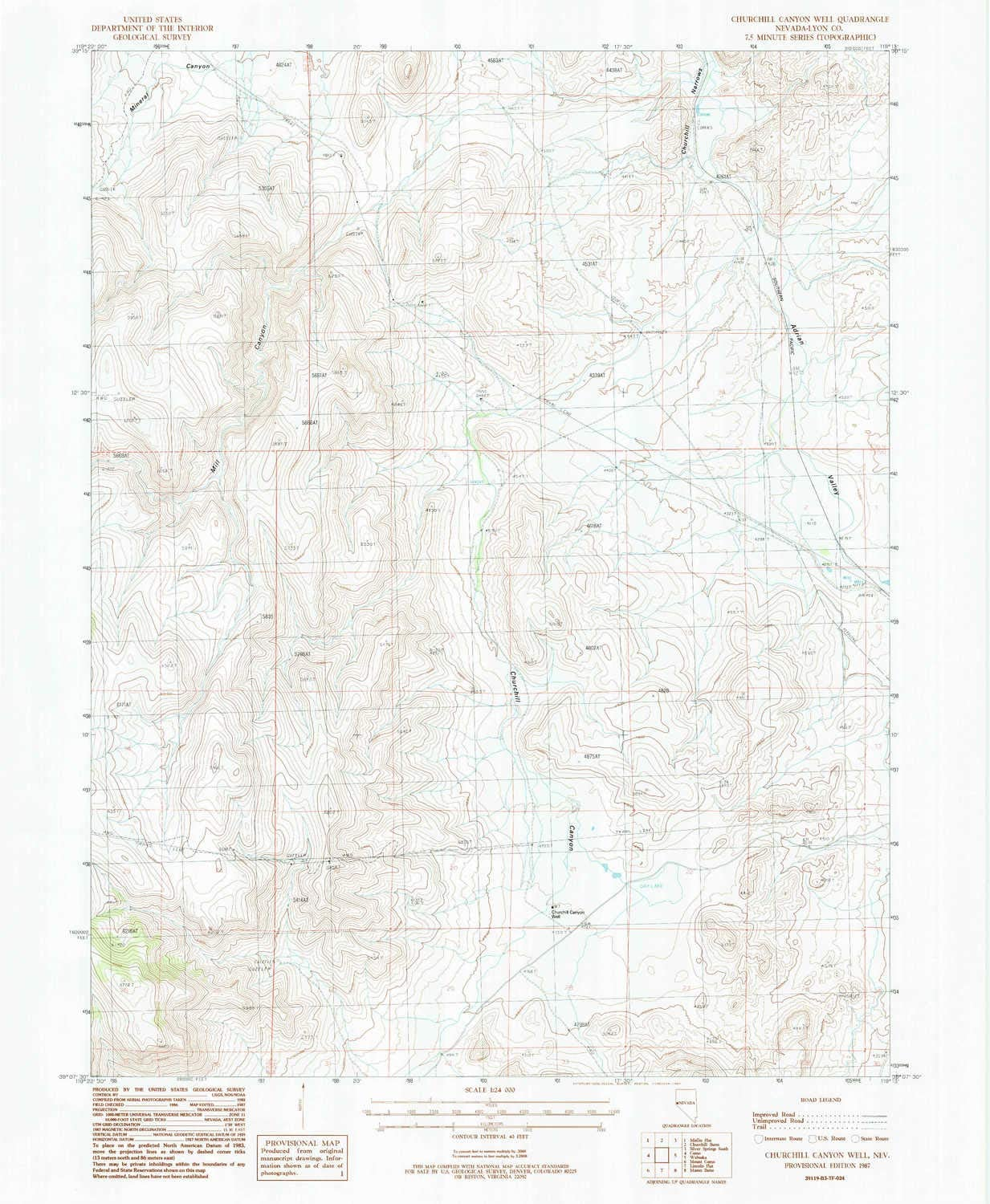 Free shipping anywhere in the nation Churchill Canyon Well NV topo map Minu Recommendation 1:24000 X 7.5 Scale