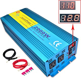 IpowerBingo Pure Sine Wave Power Inverter 2000W/4000W(Peak) 12V DC to 110 V AC with 2 AC Outlets 2 Battery Cables with LCD Display Car Boat Inverter