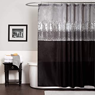 "Lush Decor Night Sky Shower Curtain | Sequin Fabric Shimmery Color Block Design for Bathroom, 72"" x 72"", Black and Gray"