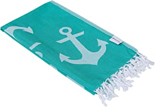 InfuseZen Reversible Anchor Print Turkish Towel, Extra Large Peshtemal Beach Towel or Bath Towel, Thin Nautical Hammam Fouta (Mint Green)