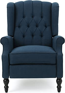 GDF Studio | Elizabeth | Button-Tufted Fabric Recliner Arm Chair | in Dark Blue