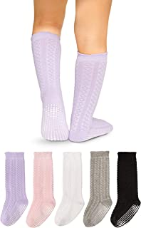 LA Active Girls Knee High Grip Socks – 5 Pairs - Baby Toddler Infant Kids Non Slip/Anti Skid Cotton Cable Knit Stockings