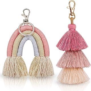 2 Pieces Boho Rainbow Keychains Pom Pom Tassel Macrame Keychains for Women Girls