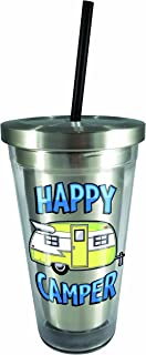Spoontiques Happy Camper Stainless Steel Cup with Straw, Silver
