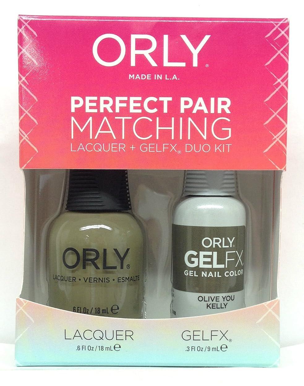 債務者州複雑Orly - Perfect Pair Matching Lacquer + GelFX Kit - Olive You Kelly - 0.6 oz / 0.3 oz