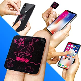 Clean Screen Wizard Microfiber Cell Phone Cleaner Sticker, Cleaning Pad Screen Cleaner for iPhone, Samsung Cell Phones, Small Electronic Devices, Tech Gadgets, Stocking Stuffers Gift Ideas, Pink