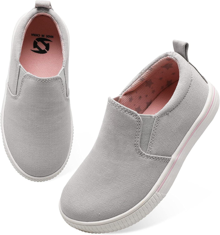 JIASUQI Baby Girls Boys Canvas Lightweight Slip on Fashion Sneakers Athletic Running Walking Shoes Grey 5 Infant
