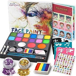 Jojoin Colori Trucco Viso Bambini, 16 Colori Body Paint Tavolozza con 4 Grandi Colori di Base, Split Cake Face Paint, 94 G...