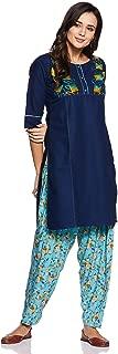 CEEMAYA Women's Cotton Kurta with Rayon Patiyala Set (Blue)
