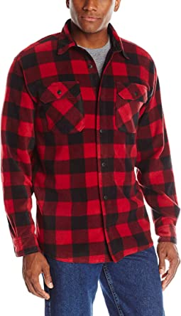 Long Sleeve Plaid Fleece Shirt Jacket