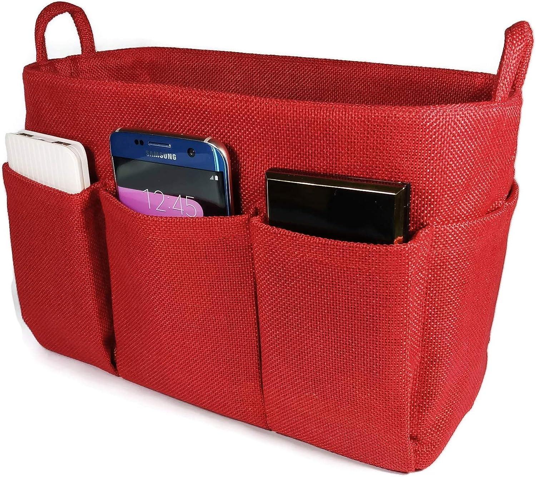 K&M Quality Product Purse Organizer Insert Medium Handbag Tote Bag 10  Pockets Lightweight Sturdy Inside LV Speedy 30 (Red)