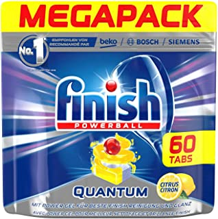Finish Powerball Quantum Dishwasher Detergent Tablets, Lemon Sparkle Mega Pack 60 Tablets