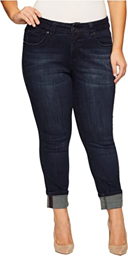 Plus Size Maddie Skinny Cuff Crosshatch Denim in Night Breeze