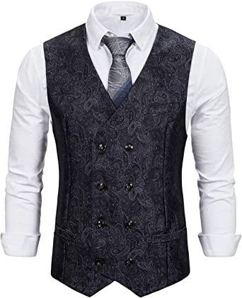 STTLZMC Mens Double Breasted Paisley Jacquard Suit Button Down Prom Formal Suit Vest Waistcoats