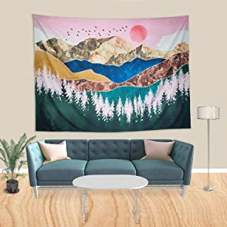 Forest Tree Tapestry Sunset Tapestry Nature Landscape Mountain Tapestry Wall Hanging for Living Room