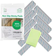 Non Slip Rug Gripper Pads: 25 Reusable Corner Carpet Tape Grippers - Adhesive No Skid Anti Slip Pad Hardwood Laminate Floo...