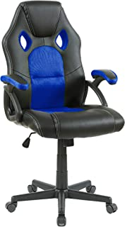 Neo ® Alfombrilla giratoria de piel sintética para barbacoa, oficina, carreras, gaming, ordenador de escritorio, sillón, color azul y negro, 114 cm x 47 cm x 48 cm