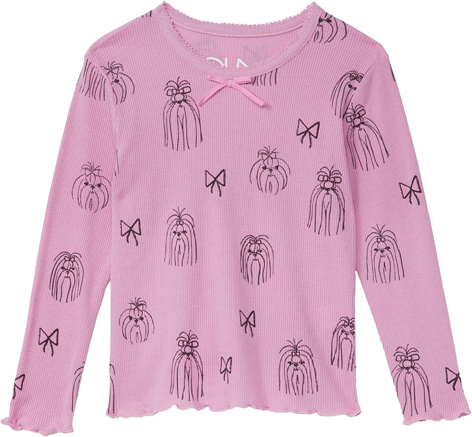CHASER girls Thermal Scallop Edge Long Sleeve Tee W/Bow (Toddler/Little Kids)