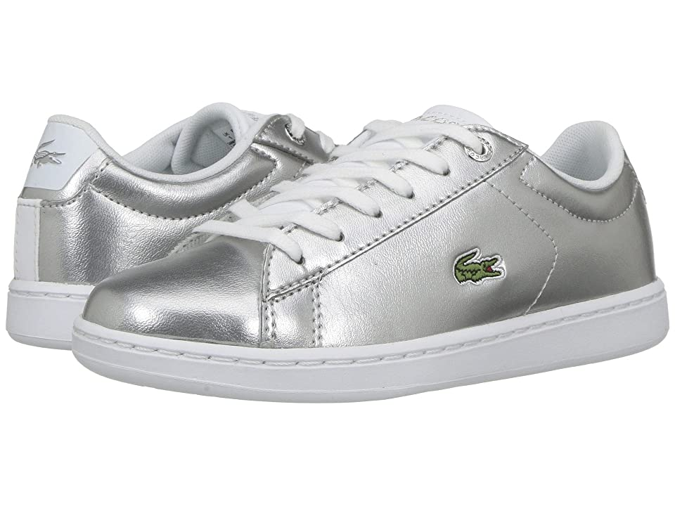 Lacoste Kids Carnaby Evo (Little Kid) (Silver/White) Kids Shoes