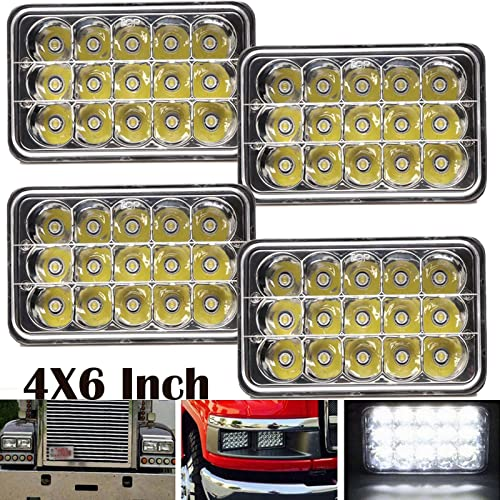 wholesale 4X6 Sealed Beam LED discount Headlights High Low Beam for Kenworth Chevrolet Peterbilt Rectangular Headlamps Super Bright Replacement H4651 H4652 H4656 H4666 H6545, outlet online sale 2 Year Warranty outlet sale