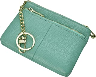 Beurlike Womens RFID Coin Purse Change Wallet Small Leather Card Holder Keychain, Teal, Small,