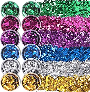 12 Boxes Body Face Glitter, FANDAMEI 6 Mixed Colors Holographic Chunky Glitter, Cosmetic Glitter Sequins, Hexagons Shaped Flakes for Face Body Hair Eye Makeup Nail Art Party Festival Christmas