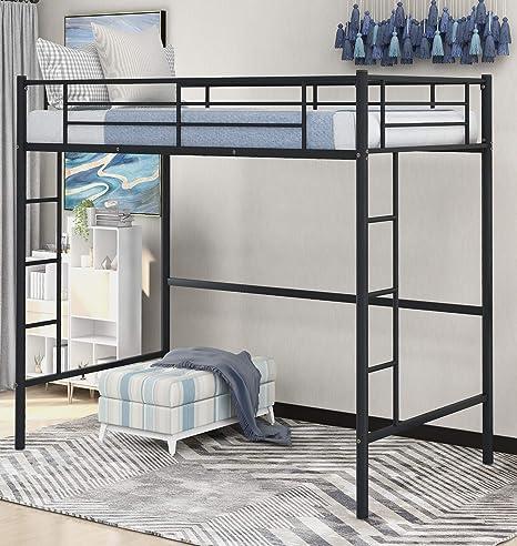 Amazon Com Danxee Two Side Ladders Modern Metal Pipe Twin Size Loft Kids Bunk Bed Bedroom Storage Guard Rail Ladder Black Kitchen Dining