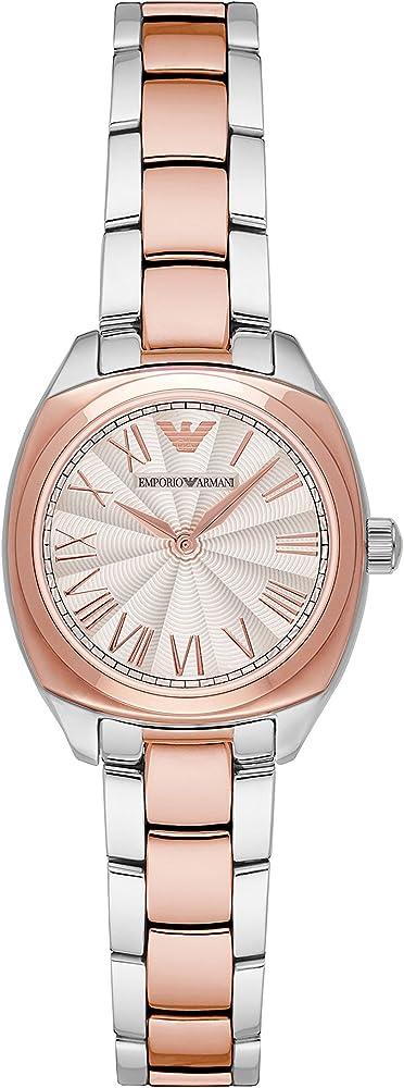 Emporio armani, orologio per donna, in acciaio inossidabile con finitura lucida con maglie color oro rosa al c AR1952