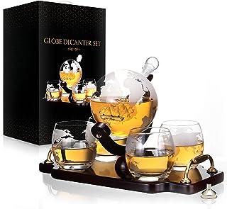 Whiskey Decanter Set World Etched Globe Decanter Antique Ship Glasses Bar Pour Funnel..