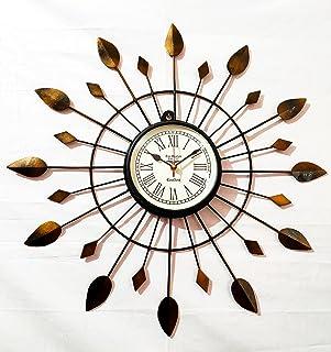 Handicraftgifts Iron Wall Clock Antique Style Art Unique 20 inch Wooden Metal Flower Design Home & Office Decor Colour Gol...