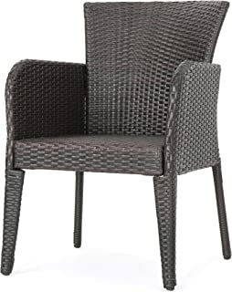 Christopher Knight Home 295948 (Set of 2) Seawall Outdoor Wicker Dining Chair, Brown