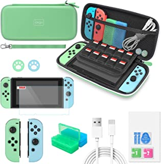 Switch Accessories Bundle for Animal Crossing - MENEEA 12 in 1 Accessories kit with Carrying Case, Screen Protector, Game ...
