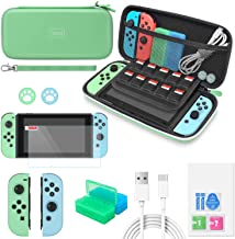 Switch Accessories Bundle for Animal Crossing - MENEEA 12 in 1 Accessories kit with Carrying Case, Screen Protector, Game Storage Case, Silicone Protective Case and Thumb Grip Cap for Joy-Con (Green)