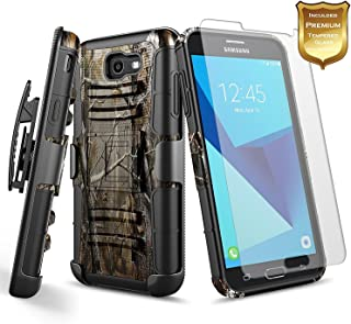 NageBee Galaxy J7 Sky Pro Case, J7 Prime / J7 Perx / J7V / Halo Case w/[Tempered Glass Screen Protector], Belt Clip Holster Defender Heavy Duty Shockproof Combo Rugged Case for Samsung J7 2017 -Camo
