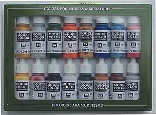 Vallejo 70101 - Vallejo Model Color Folkstone Basics Acrylic Paint Set - 16 x Assorted 17millimeter Colour