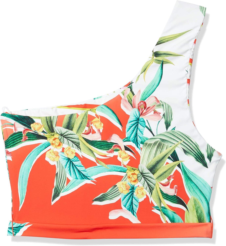 Trina Turk Women's One Shoulder Sash Tie Front Midkini Bikini Swimsuit Top