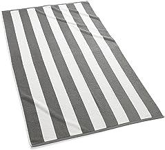 (Beach Towel, Grey) - Kassatex Cabana Stripe Beach Towels-Grey
