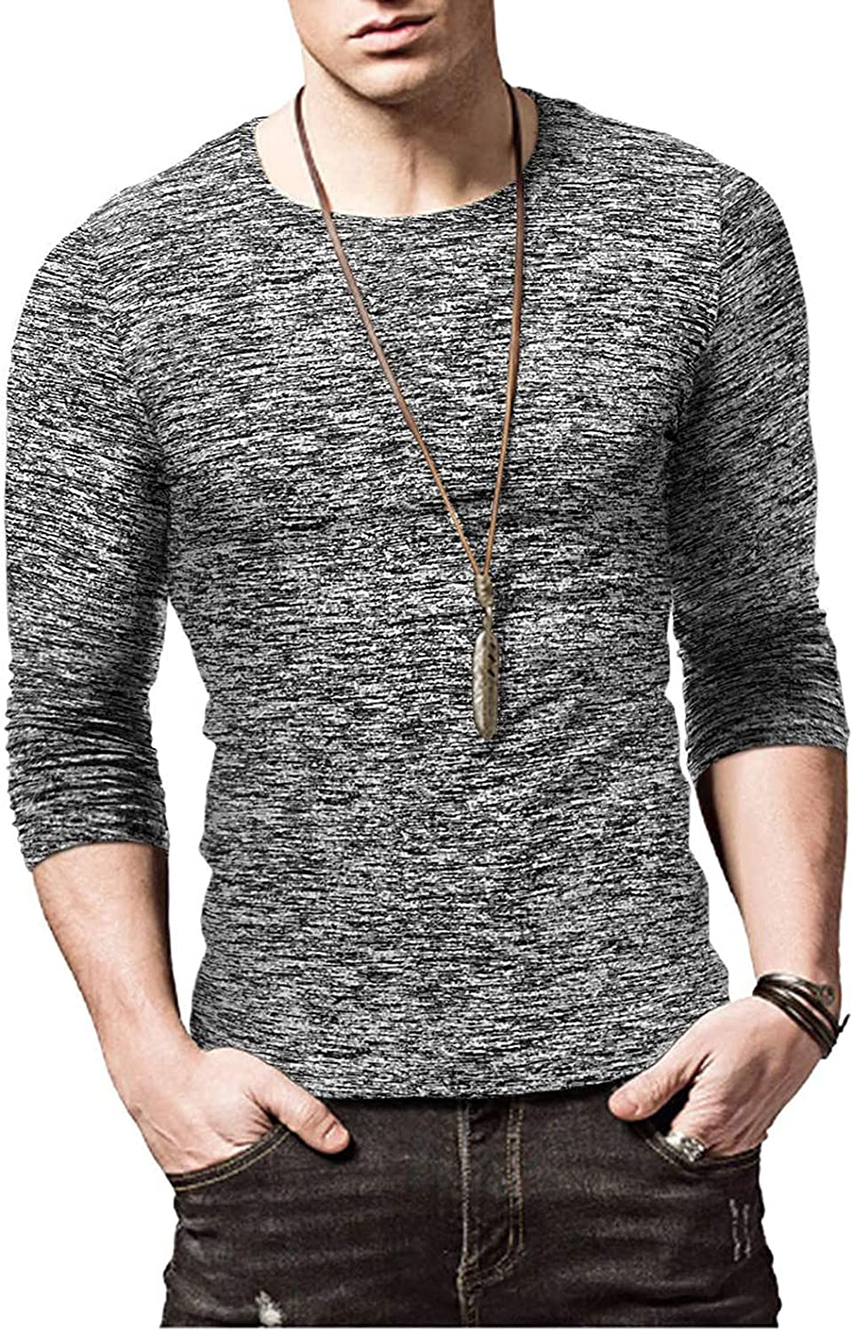 Long Sleeve Shirts for Men Casual Spring Shirt Muscle Round Neck Solid Tops Blouse Cotton Fashion Slim Fits Shirts