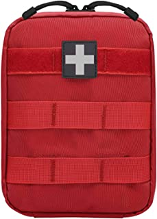 Molle IFAK First Aid Pouch,Small Multicam Tactical EMT Pouches Empty Compact Rip Away Utility Bag (Red)