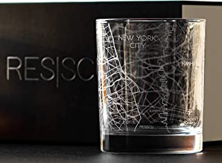 RESSCU New York City Map, Rocks Glasses Set of 2, Unique Gifts, City Streets Etched Glasses
