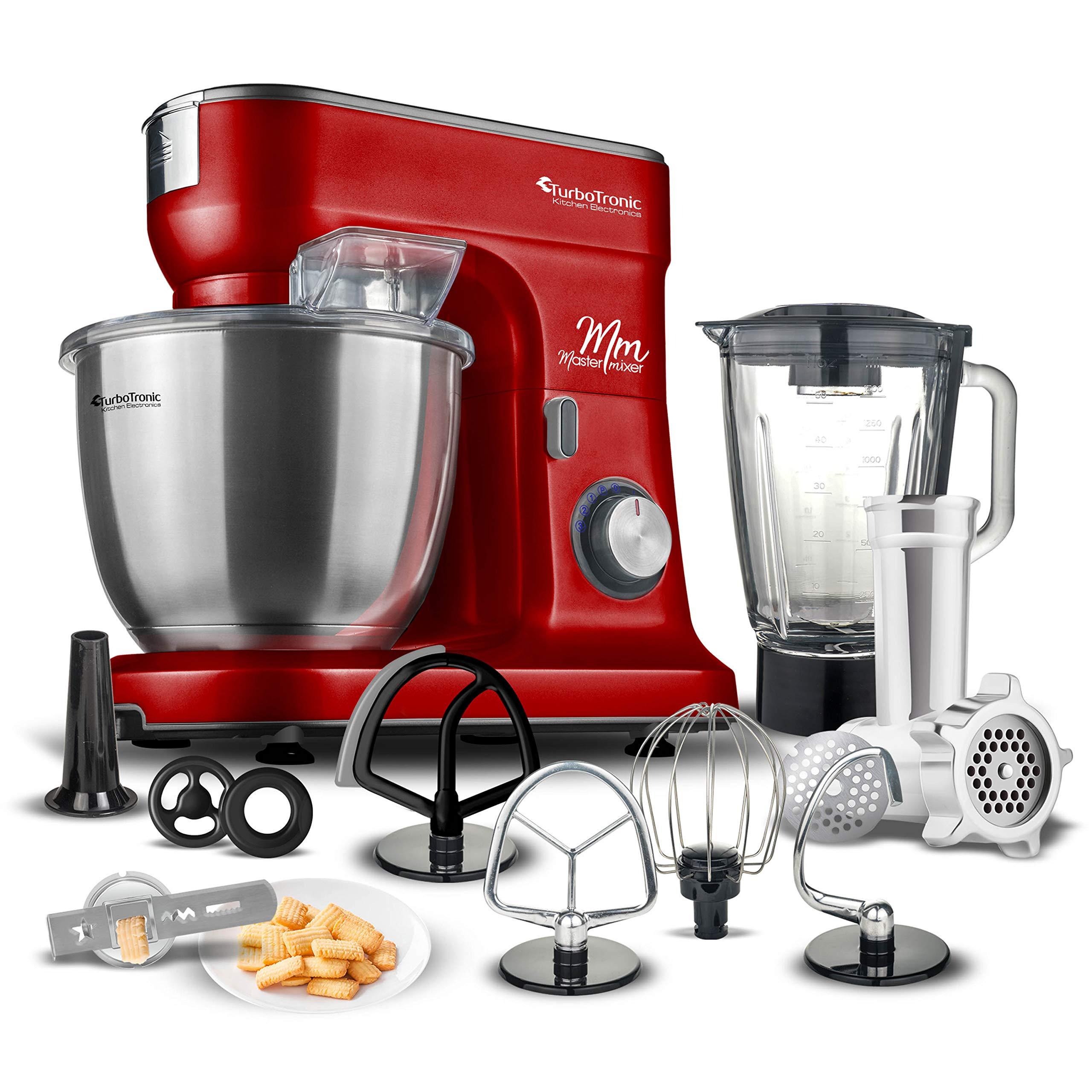 Robot de cocina multifunción con batidora & Máquina de picar carne, varillas para amasar, amasadora de masa, 6.5 litros Cuenco de acero inoxidable rojo: Amazon.es: Hogar