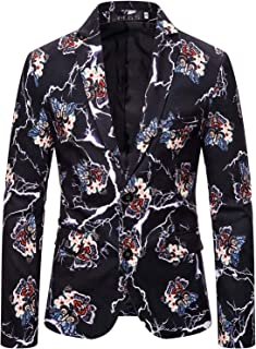 Men's Paisley Camouflage Printed Suits Luxury Design Long Sleeve Casual Dress Blazers