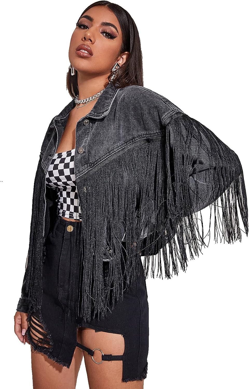 Verdusa Women's Button Front Fringe Trim Long Sleeve Drop Shoulder Denim Jacket