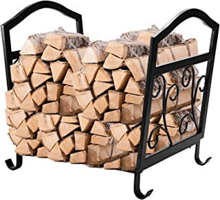 Pinty Fireplace Log Holder Wrought Iron Indoor Fire Wood Stove Stacking Rack Logs Bin Firewood Storage Carrier for Outdoor Fireplace Pit Decorative Wood Holders Fire Place Tools