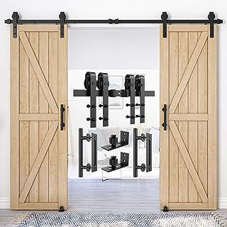 """Best Homlux 9ft Heavy Duty Sturdy Sliding Barn Door Hardware Kit Double Door Whole Set Include 2X Round Door Handle, 2X Floor Guide - Fit 1 3/8-1 3/4"""" Thickness Door Panel(Black) Review"""
