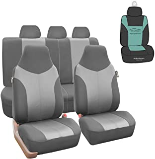 FH Group FB101115 Supreme Twill Fabric High-Back Full Set Car Seat Covers, Airbag and Split Ready, Light/Dark Gray Color- ...