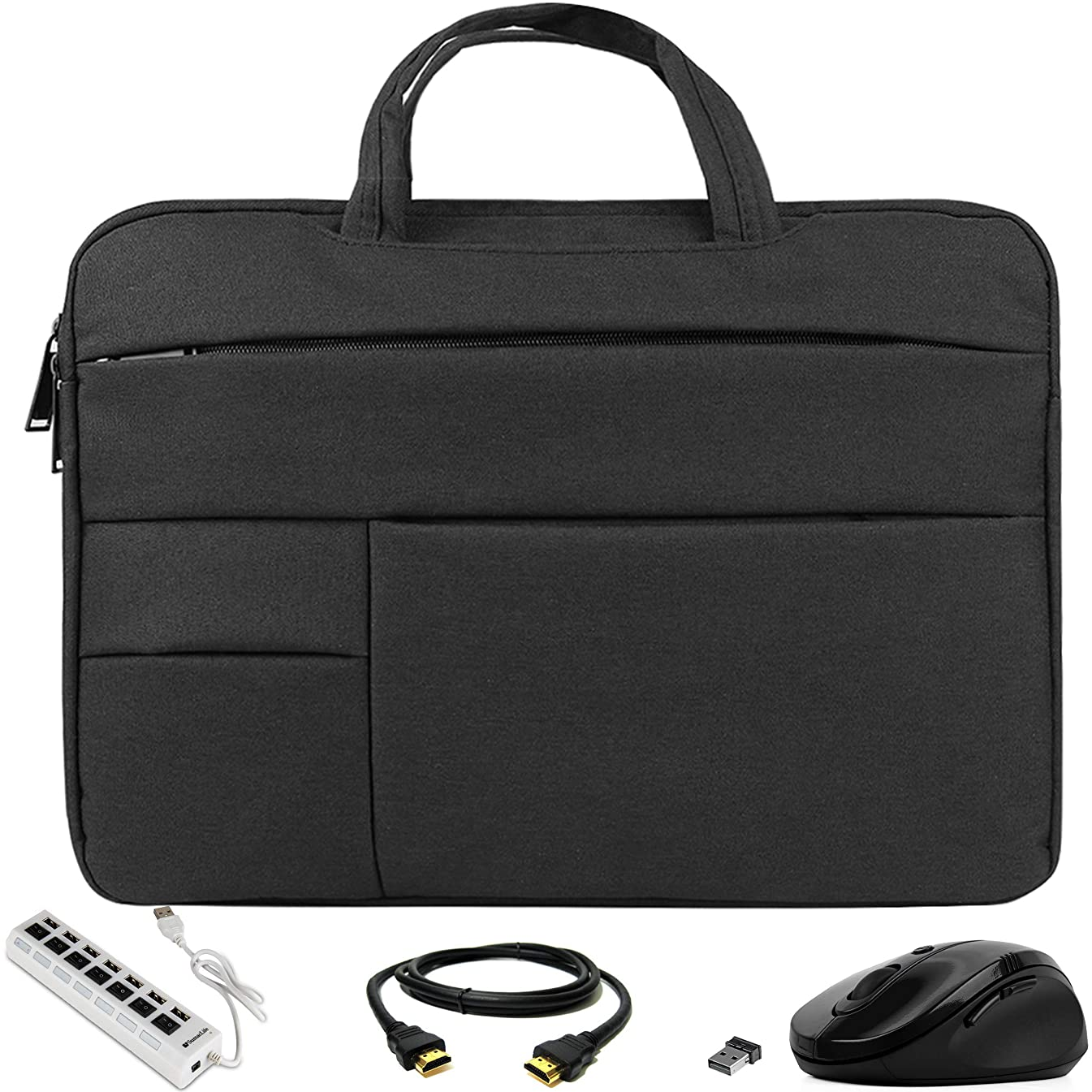 VG Bags Ultra-Slim Black 14-inch Laptop Sleeve Bag with USB Hub, Mouse, and HDMI Cable for Lenovo IdeaPad, Flex, ThinkPad, Yoga, ChromeBook 14