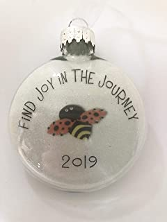 2019 Glass Round Flat Puffed Ornament Queen Bee Honey Bee Bumblebee Bee Find Joy in the Journey Christmas Ornament Holiday Inspirational Gift Decor
