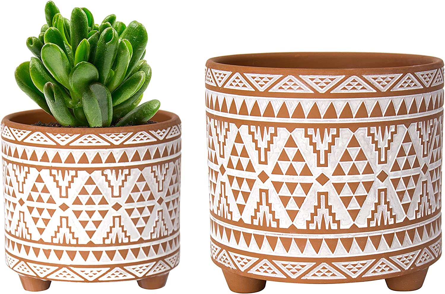 High quality Set of 2 Terracotta Planter Pots Ranking TOP5 6 Inch Totem 4 Design