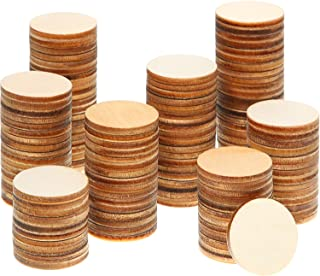 Boao 1 Inch Unfinished Wood Slices Round Disc Circle Wood Pieces Wooden Cutouts Ornaments for Craft and Decoration (500 Pieces)